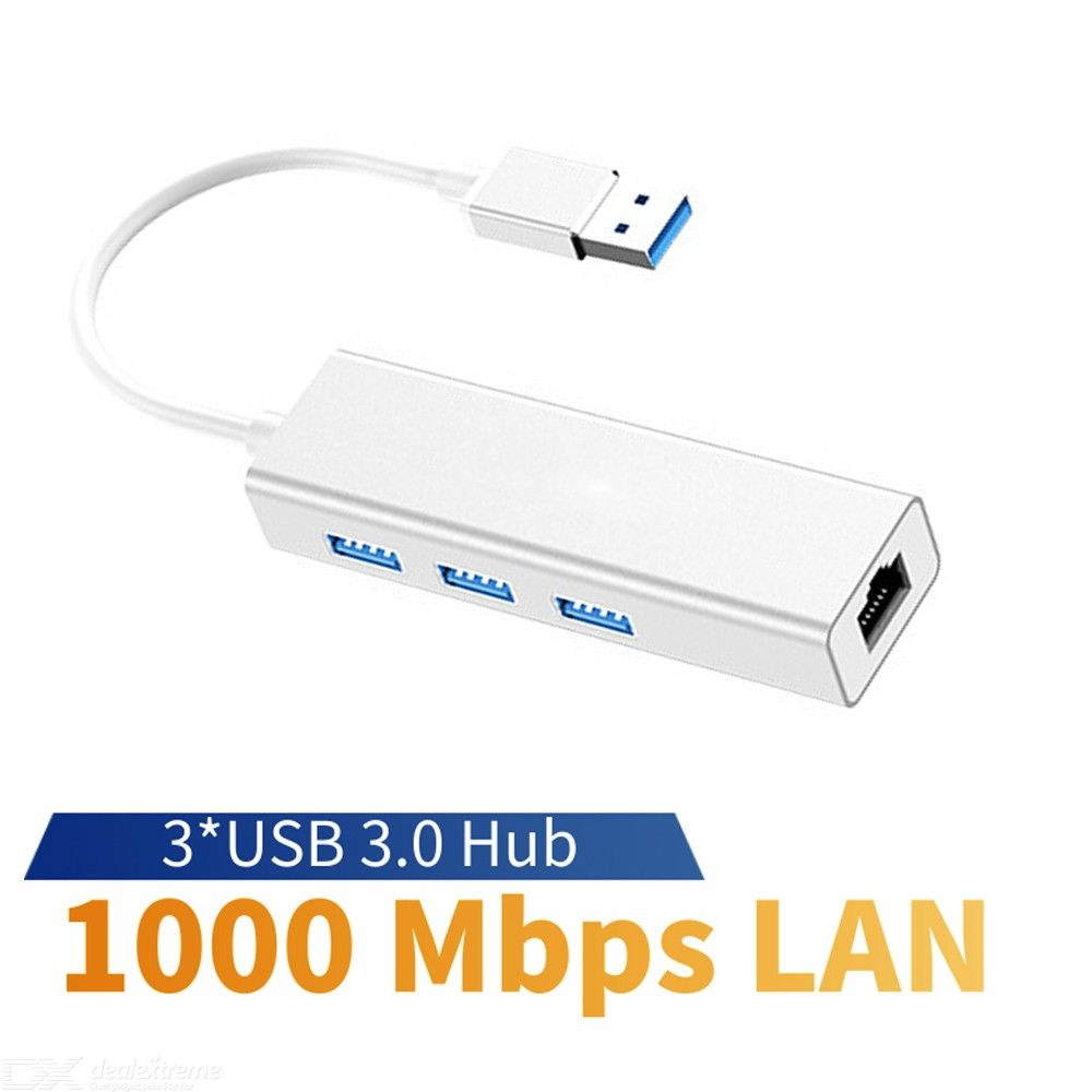 USB 3.0 to RJ45 1000Mbps Network Card Expansion, 3-Port USB 3.0 HUB USB Wired Network Card
