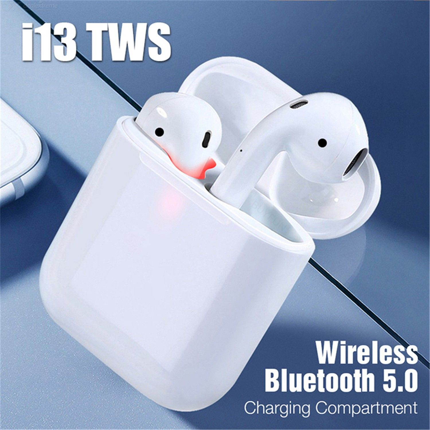 i13 TWS Bluetooth 5.0 Wireless Earphones 3D Stereo Sound Smart Touch Earbuds with Mic Charging Case for All Bluetooth Devices