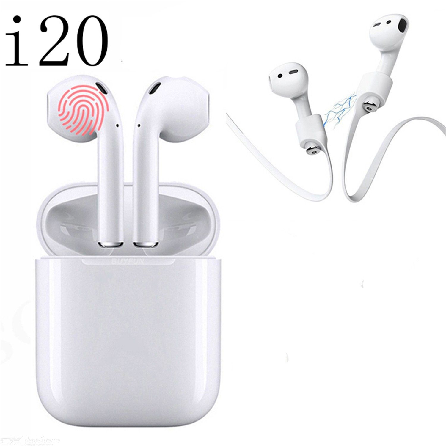 i20TWS Bluetooth 5.0 Wireless Earphones TWS Touch Control Pop-up Headphones with Mic Charging Case for iOS Android