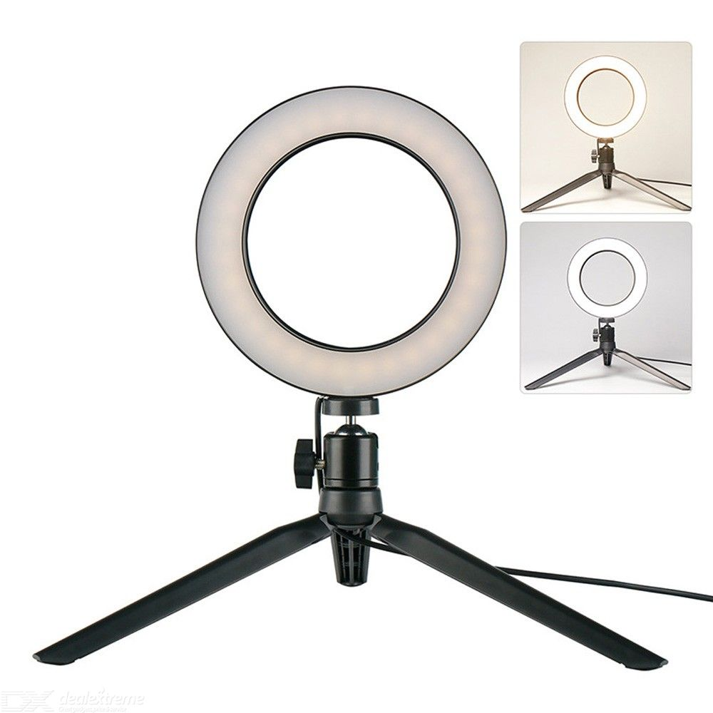 5.7 Inch Dimmable Tricolor LED Ring Light with Tripod