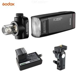 Godox AD200Pro Pocket Flash Portable Wireless TTL Flash With Changeable Flash Head (Speedlite/Bare Bulb) GN52 GN60 1/8000s HSS 2