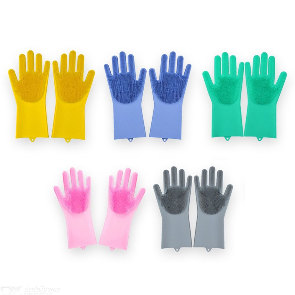1 Pair Reusable Kitchen Silicone Gloves, Heat Resistant Thicker Durable Household Dish,tray,sink Washing Gloves