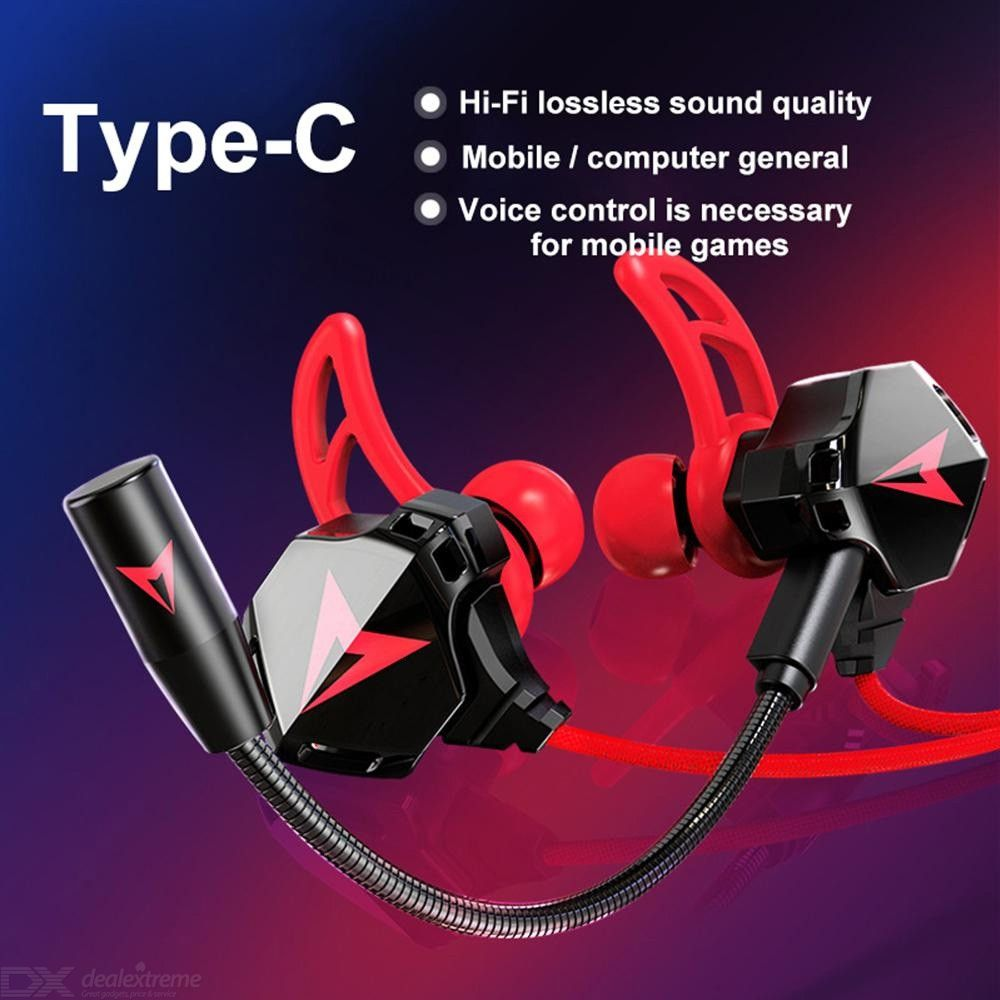 G5 Portable Type-C In-Ear Wired Earphone No Delay Gaming Headset with Microphone