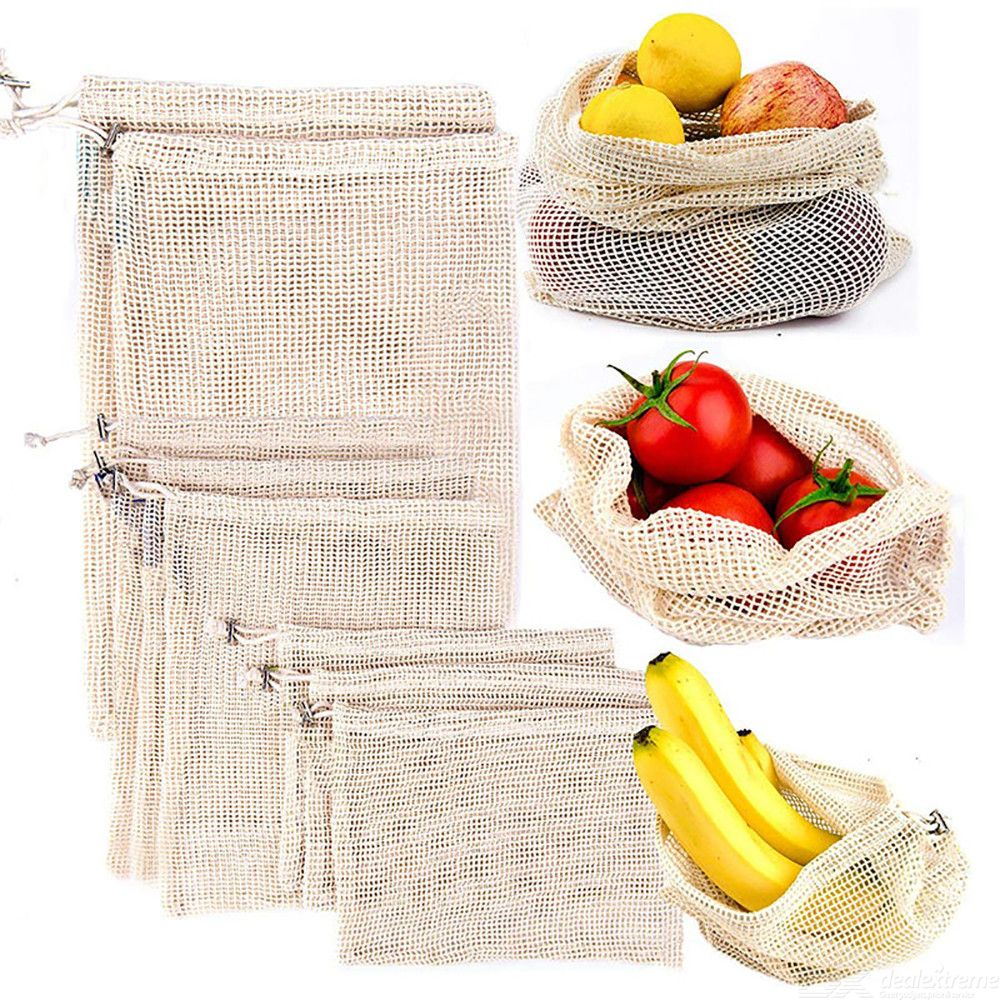 2Pcs Reusable Cotton Vegetable Bags Home Kitchen Fruit And Vegetable Storage Mesh Bags With Drawstring Machine Washable