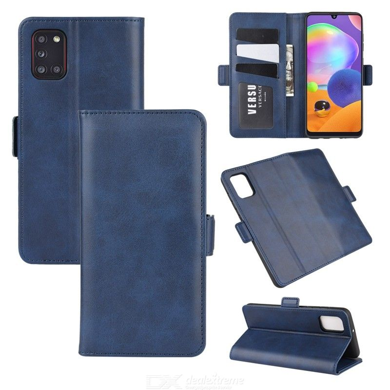 CHUMDIY Double Buckle PU Leather Phone Wallet Case with Stand for Samsung Galaxy A31