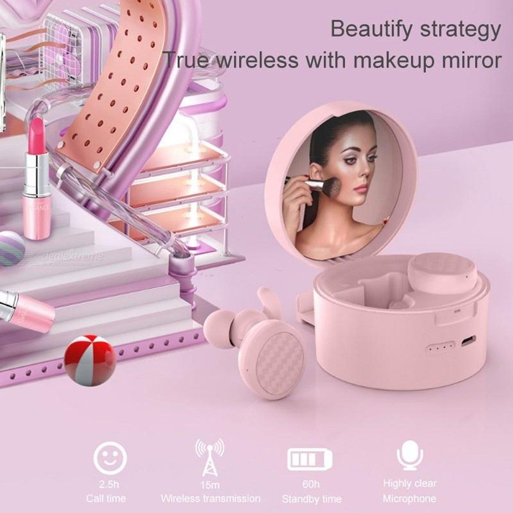 T9 True Wireless Bluetooth Headphones Macaron Color Multifunction Stereo Hifi Music Button Control Pink Earphones With Mirror