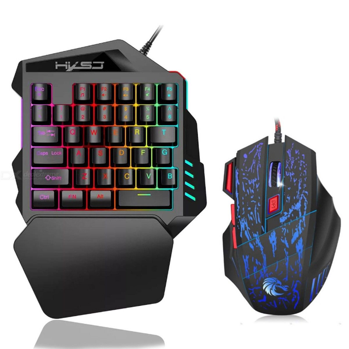 V100 USB 2.0 One-Handed Wired Keyboard, Left Hand Mini Portable 35-Key Gaming Mouse and Keyboard Combo