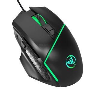A876 USB 2.0 Wired Mouse Colorful Light 6400DPI Adjustable 7-Key Gaming Optical Mouse