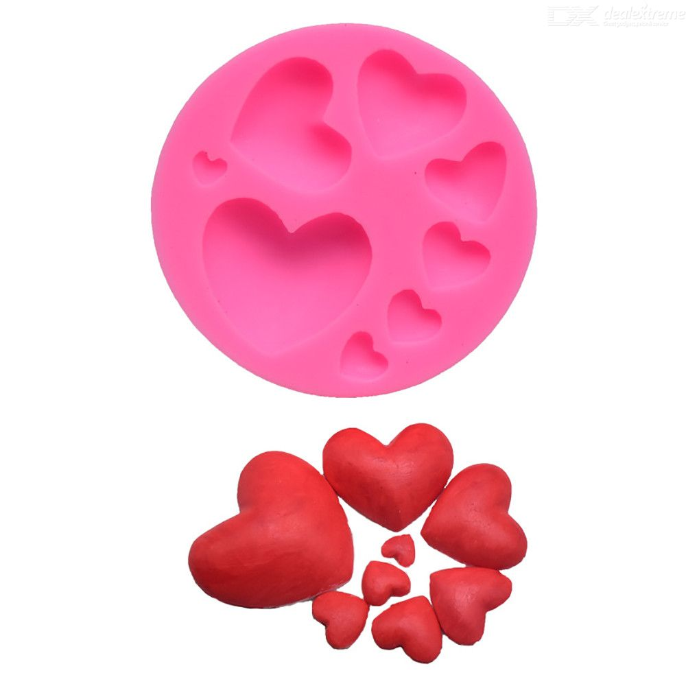 Silicone Fondant Mold 8-Cup Heart Molds Chocolate Cake Decoration Making Tool, 1PC