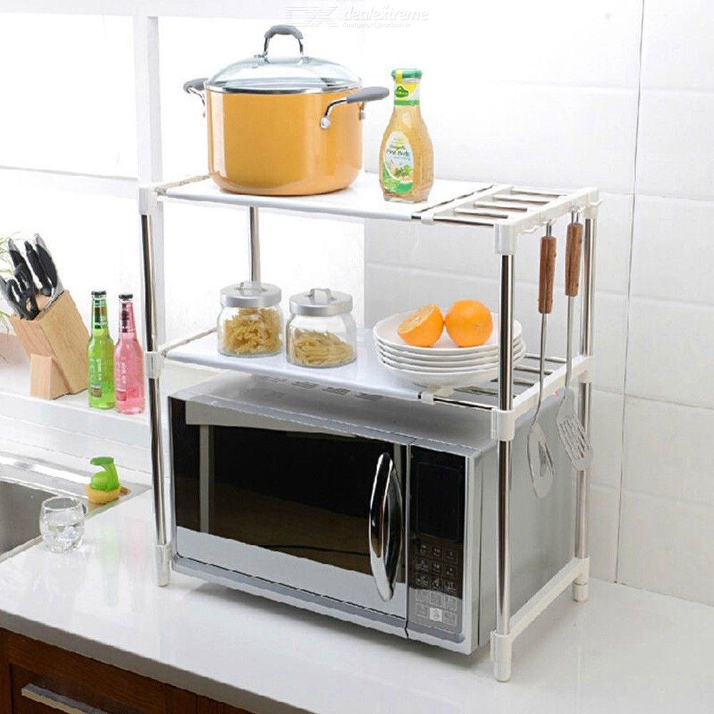Microwave Oven Rack Stainless Steel Adjustable Microwave Oven Shelf Rack Kitchen Counter Storage Organizer with Hooks