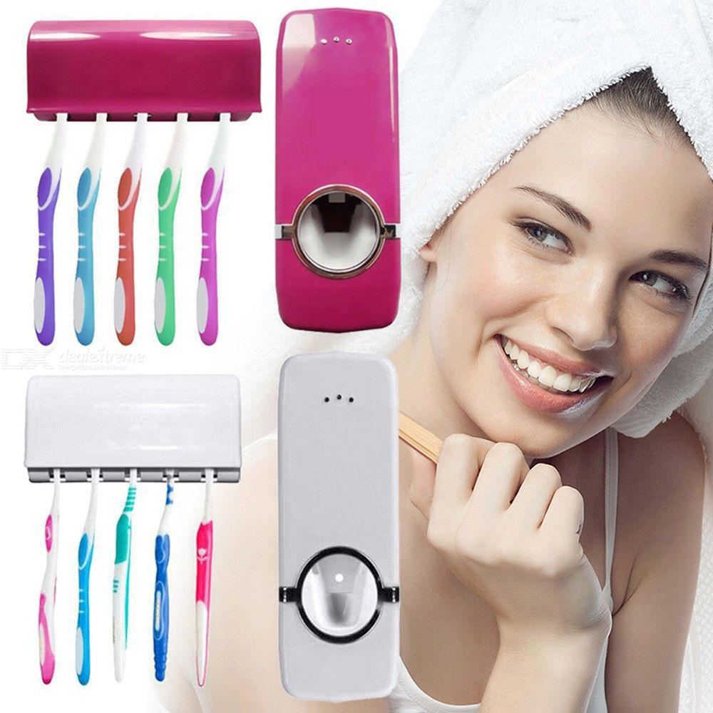 Toothbrush Holder Automatic Toothpaste Dispenser Set Wall Mounted Hands Free Toothpaste Squeezer Toothbrush Holder Stand