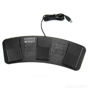 FS3-P USB Foot Switch Keyboard Mouse Control Foot Pedal - Black (200cm-Cable)