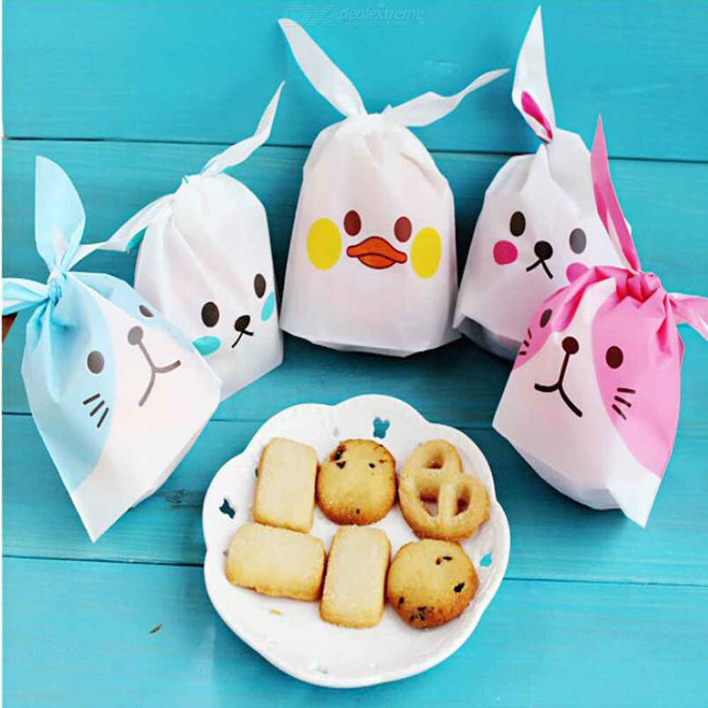 50pcs/set Cute Rabbit Ear Cookie Bags Candy Biscuits Snack Package Bags