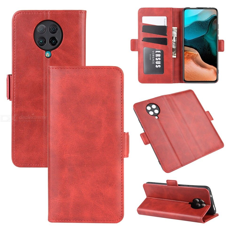 CHUMDIY PU Leather Phone Case Cellphone Wallet Case with Stand and Double Buckle for Xiaomi Redmi K30 Pro