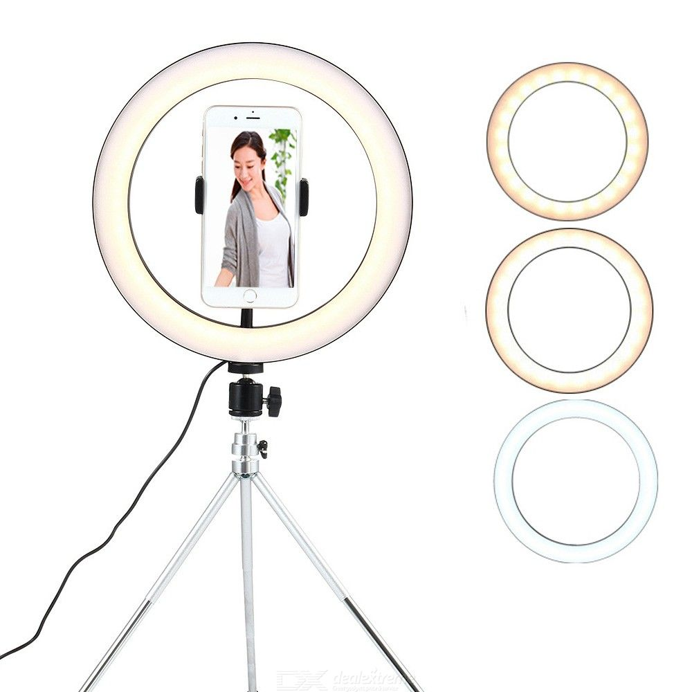 10 Inch Selfie Ring Light with Tripod Dimmable LED Camera Rightlight for Live Stream Recording