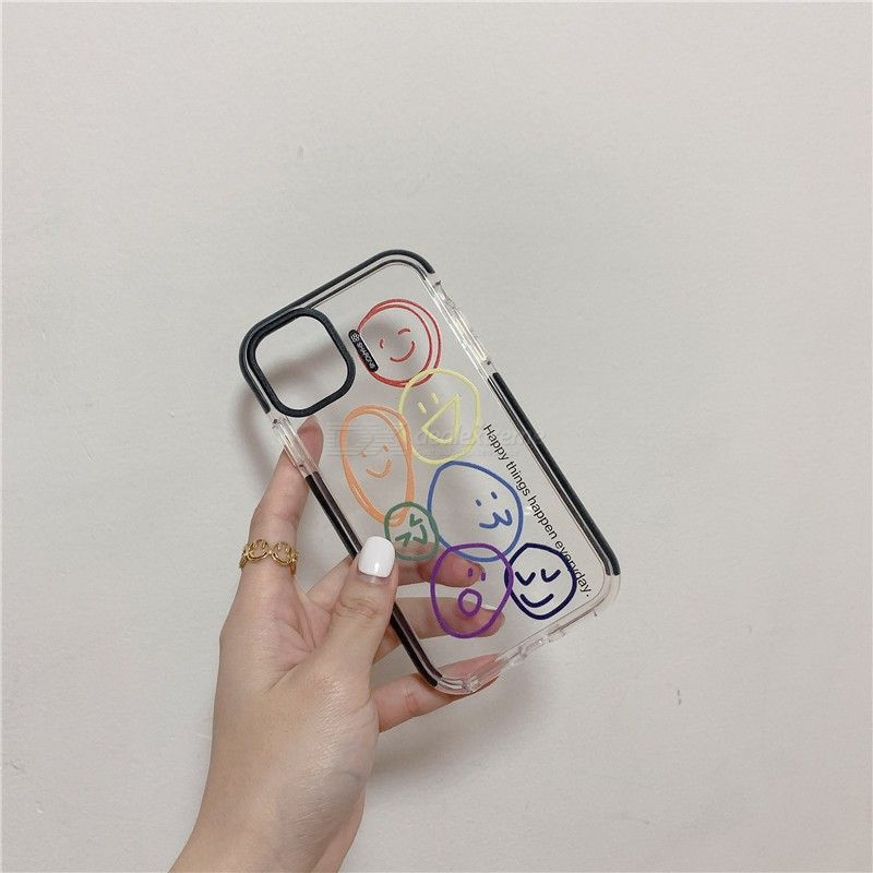 Graffiti Smile Face Pattern Phone Case Transparent Back Cover for iPhone 11 Pro Max / X / XR / Xs Max