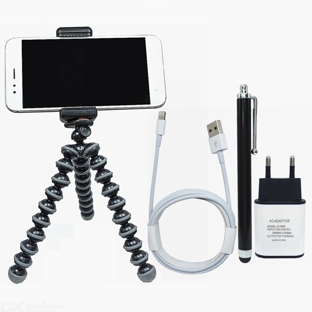 5V 2A Charger and Lightning Cable + Mobile Phone Tripod Stand + Stylus for Photo Taking / Online Class / Video Recording