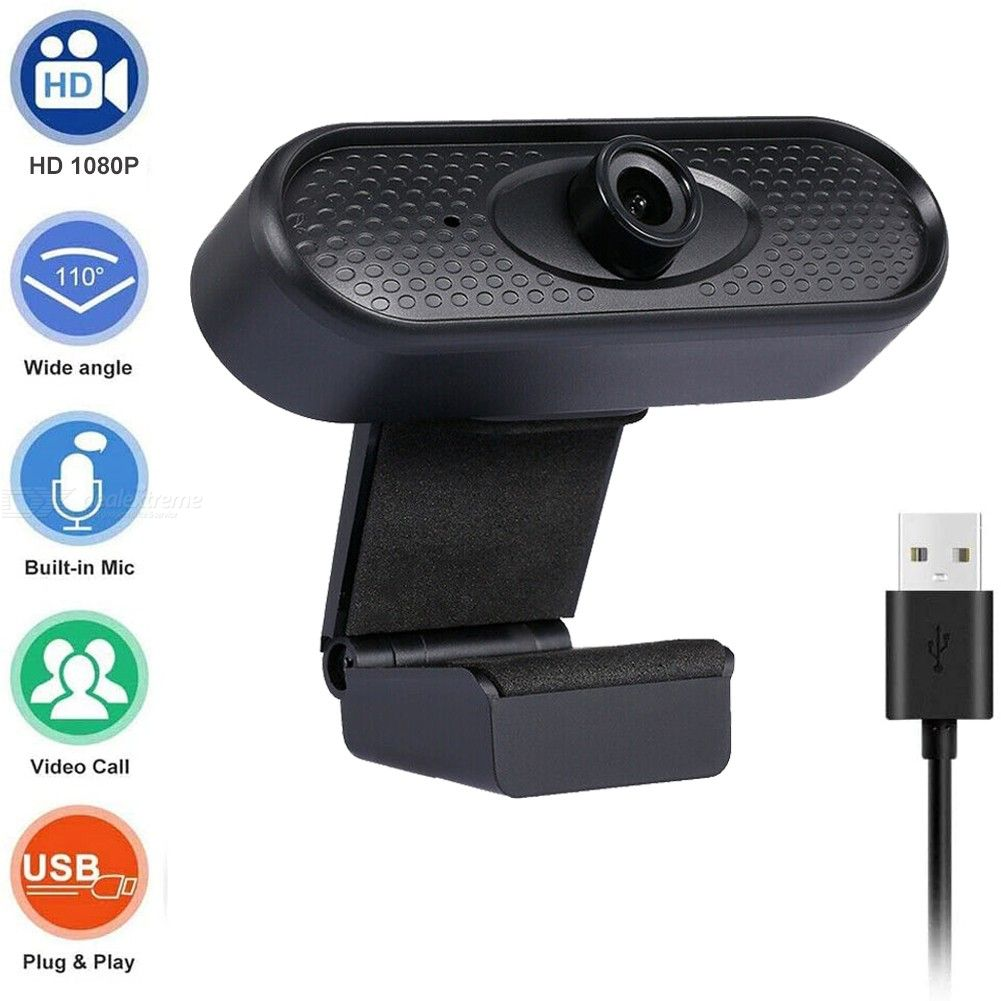 1080P Webcam USB Web Cameras with Microphone for Live Stream Online Conference Video Chatting