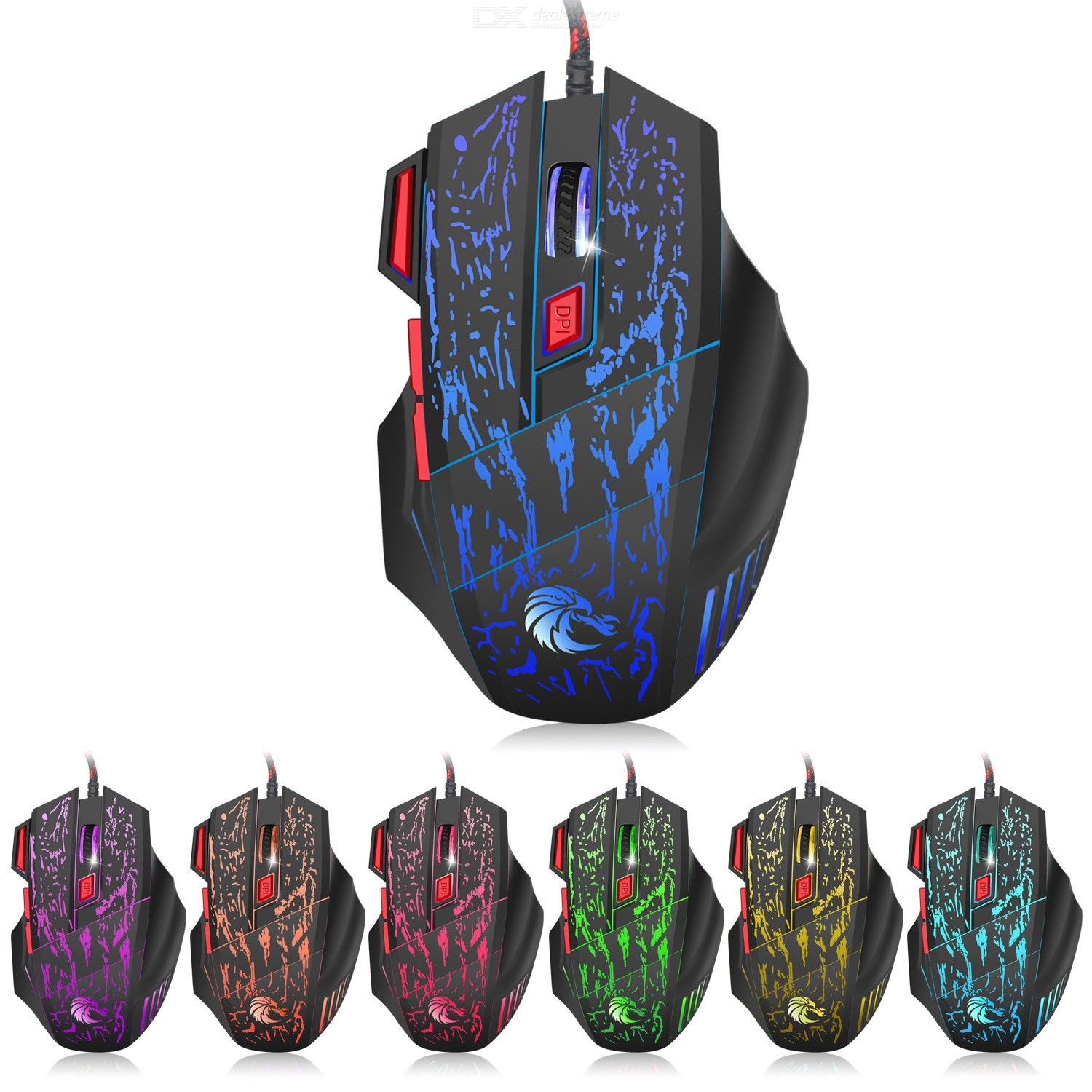H300 USB 2.0 running water crack colorful luminous gaming mouse 7 button office home mouse 5500dpi gaming optical mouse