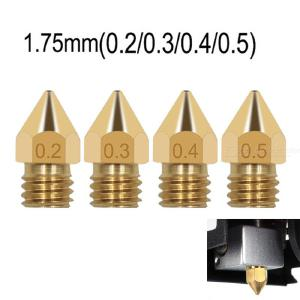 20pcs 1.75mm consumables 0.2/0.3/0.4/0.5mm 3D printer accessories mk8 pointed brass nozzle with lettering