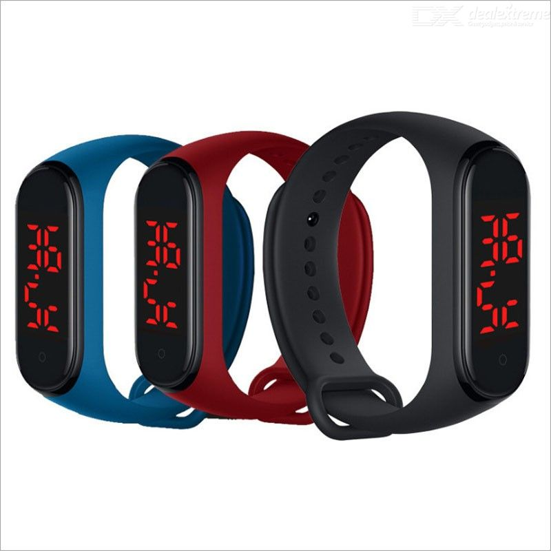 LED Real-time Temperature Measurement Smart Bracelet Touch Operation Silicone Wristband