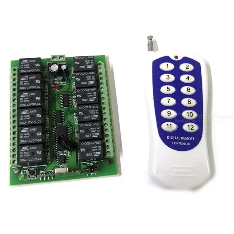 DC 12V Channel Wireless RF Remote Control Relay 12CH Transceiver Receive