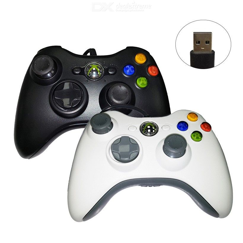 Xbox 360 cable controller PC computer game controller belt vibration xbox 360 controller black and white