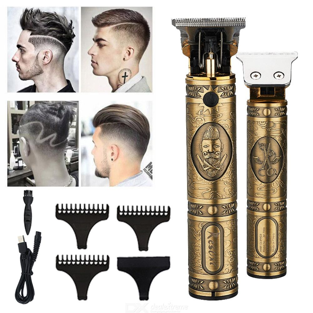Professional Engraved Metal Hair Clippers Rechargeable Barber Hair Trimmer