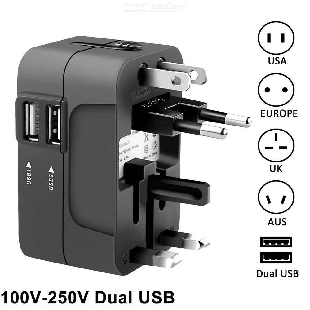 Travel Plug Adapter International All-in-one Power Converter With 2 USB Port Works For 150 Countries