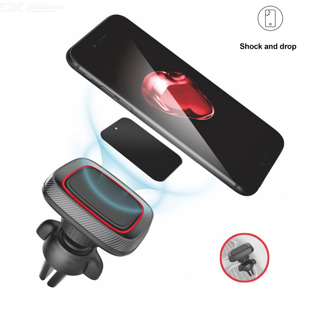 Car Phone Holder Air Vent Magnetic Cell Phone Mount Universal Phone Clamp With 360-Degree Rotation Range