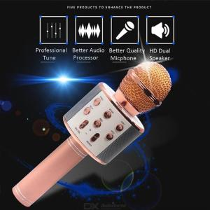 WS858 Wireless Bluetooth Karaoke Microphone Portable Handheld Speaker Machine KTV Mobile Phone Player Mic for Home Party