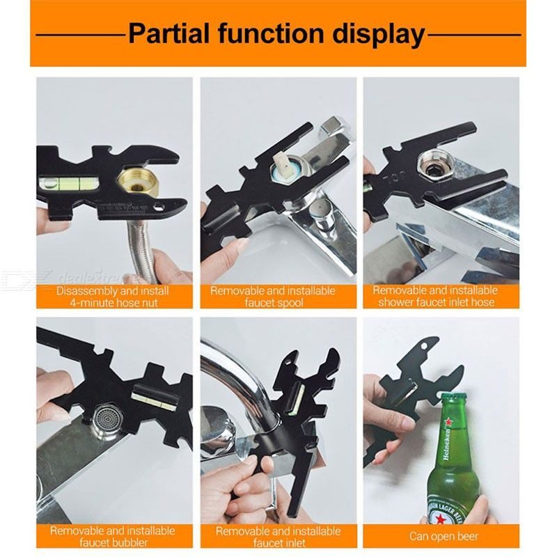 Multifunctional High Carbon Steel Wrench Repair Tool for Bathroom Faucet
