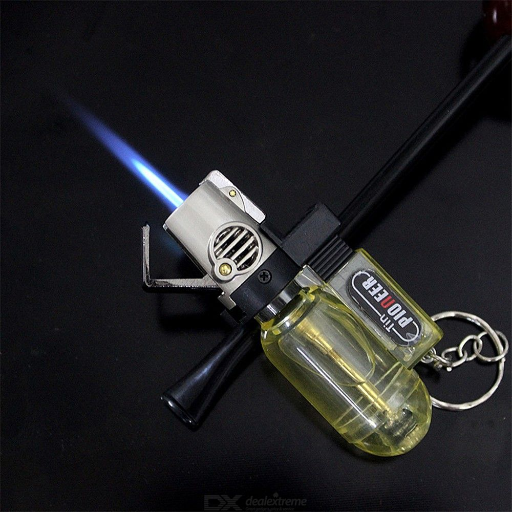Blue Flame Windproof Lighter with Key Chain Smoking Accessories