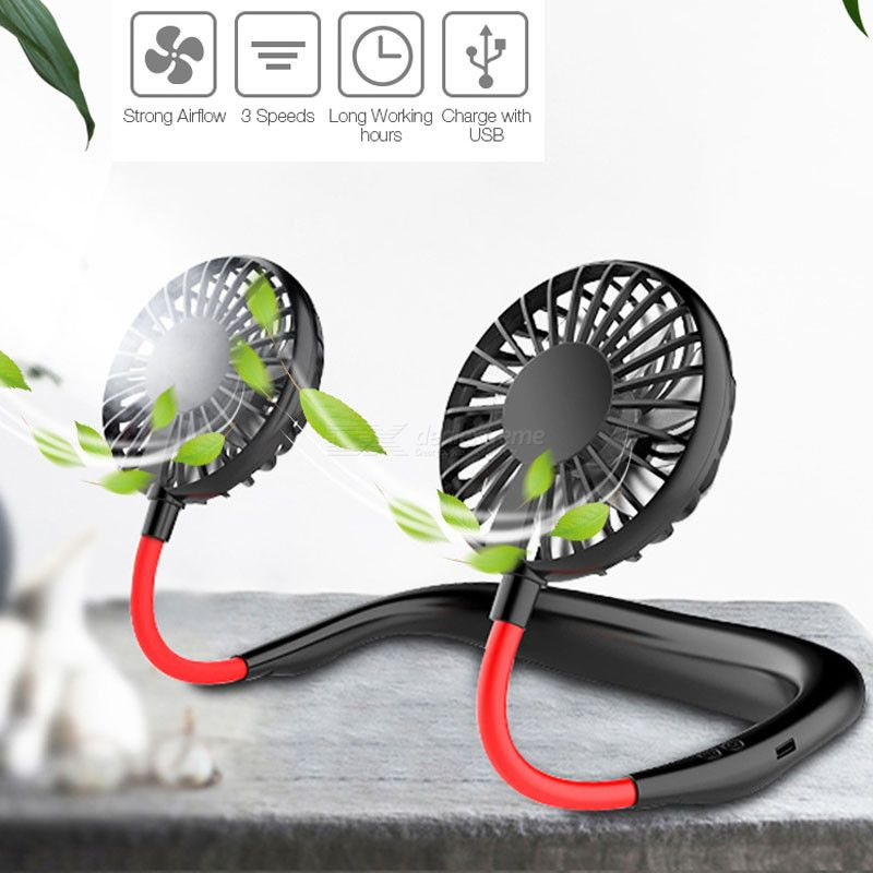 Air Cooling Fan Handsfree Usb Rechargeable Mini Neck Fan 3 Speeds Air Conditioning Fan For Travel Sport Outdoor Home Office