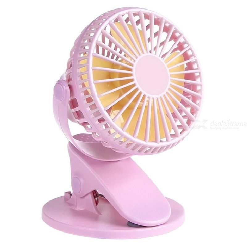 Clip on Mini Desk Fan USB Rechargeable Portable Fan with 3 Speeds 360° Adjustable Head for Home Baby Strollers Office Table Top