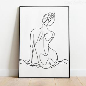 DH Poster Woman Sexy Line Abstract Poster Wall Art Pictures Modern Wall Art Painting Unframed for Living Room Bedroom Wall Decor