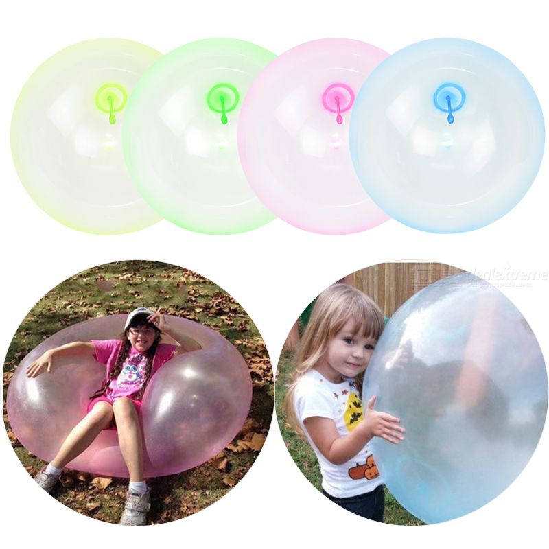 Beach Bubble Ball Transparent Bubble Balloon Water Air Filling Bubble Balls Toy Inflatable Bouncy Balloon For Kids Adults, 60CM