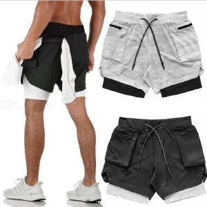Breathable Sports Shorts Double Layer Mens Outdoor Fitness Running Short Pants
