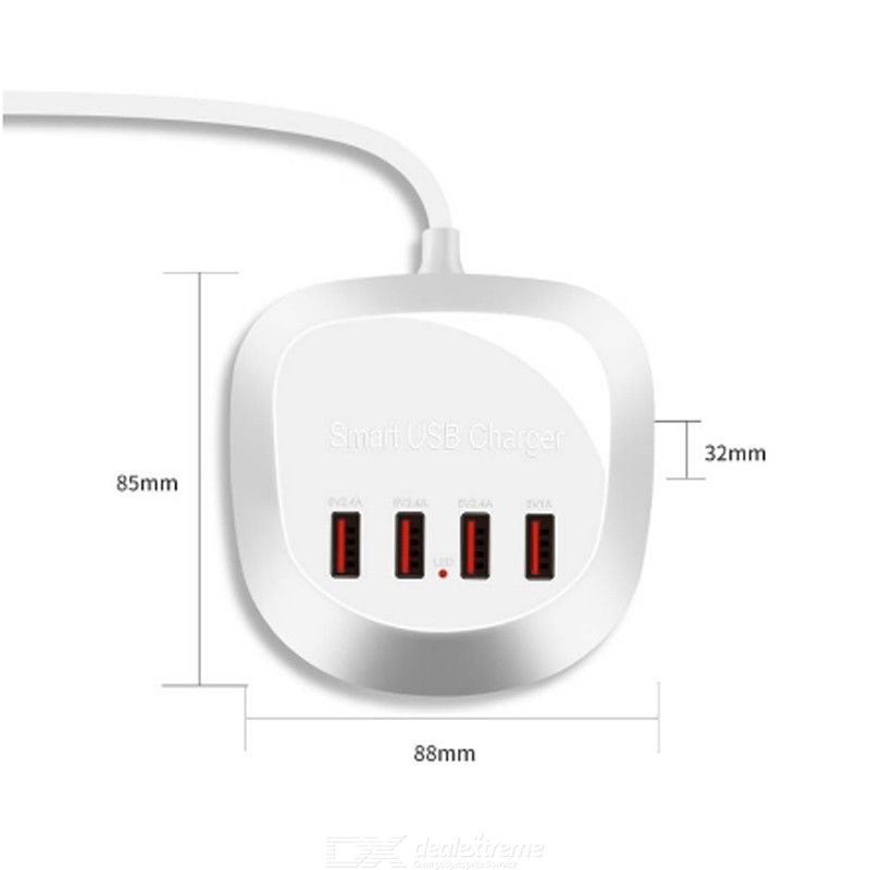 4-port USB Charger with 1.5m Charging Cable for iPhone Huawei Samsung
