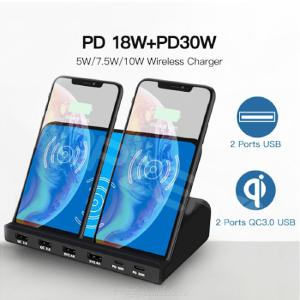 120W 3-Port Wireless Charging + PD18W + PD30W + Dual QC 3.0 Charger for Smartphone Tablets Laptop
