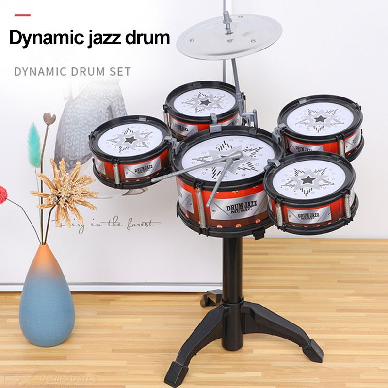 Jazz Drum Set Musical Playset Perccusion Instrument Kit Kids Present For Boys And Girls