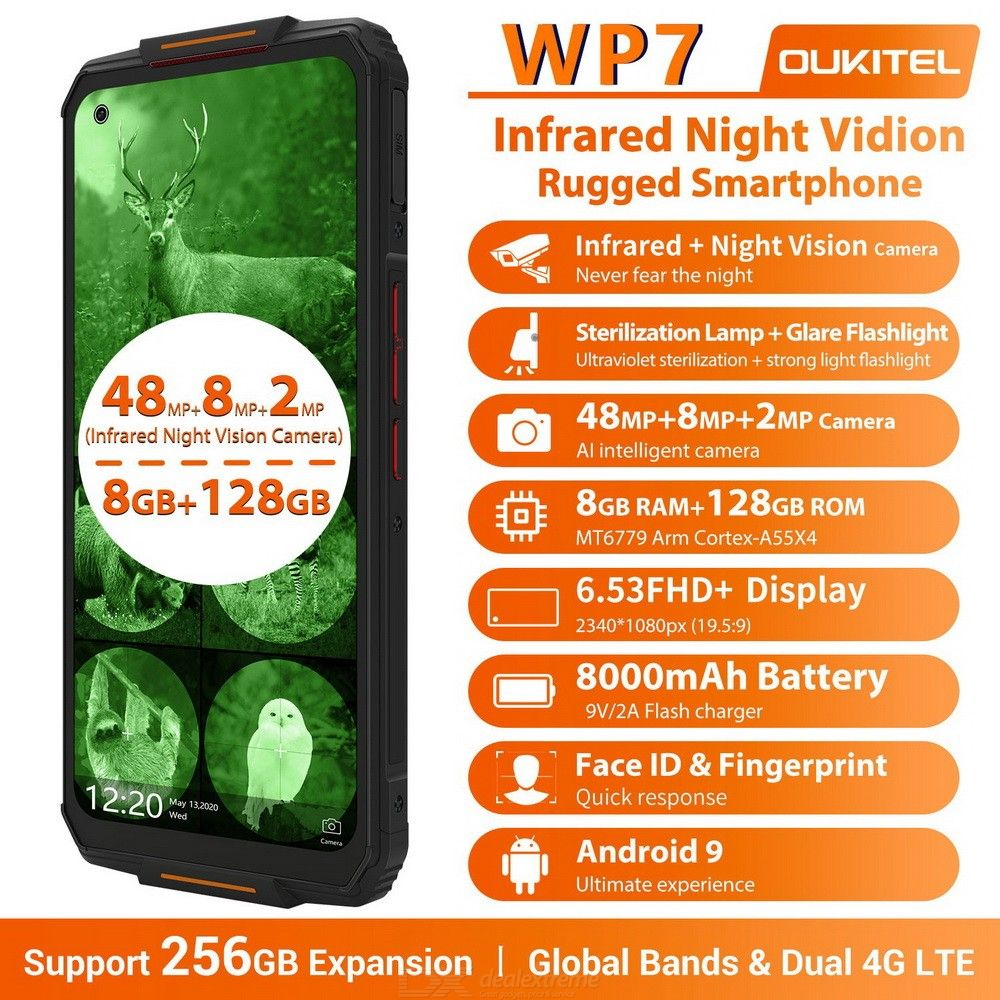 Oukitel WP7 6.53 Inch Rugged Phones Octa Core MT6779 2.2 GHZ 48+8+2MP Cameras 8 + 128G 8000mAh Battery