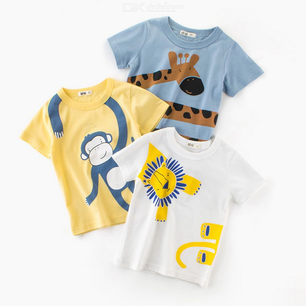Boys T-Shirt Summer Fashionable Cartoon Printed Short Sleeve T-Shirt Top For Boys Kids Aged 1-10