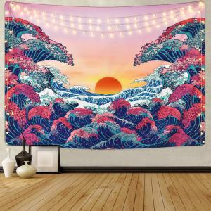 DH Tapestry Sunset Waves Landscape Tapestry Wall Hanging Bohemian Beach Mat Wall Decoration for Living Room Bedroom