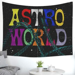 DH Tapestry ASTRO WLRLD Tapestry Wall Hanging Bohemian Beach Mat Wall Decoration for Living Room Bedroom