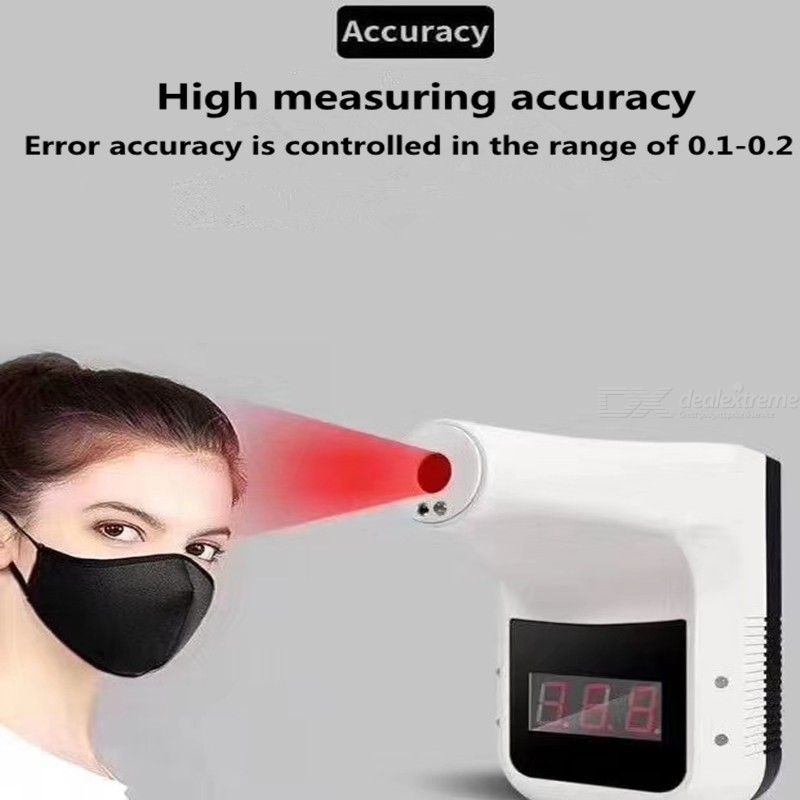 Wall-Mounted Body Thermometer Non-Contact Infrared Forehead Thermometer for Home Office Super Market Mall Subway
