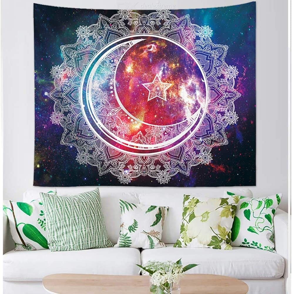 DH Tapestry Mandala Star Moon Tapestry Wall Hanging Bohemian Beach Mat Wall Decoration for Living Room Bedroom