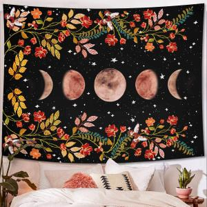 DH Tapestry Moon Stars Flowers Tapestry Wall Hanging Bohemian Beach Mat Wall Decoration for Living Room Bedroom