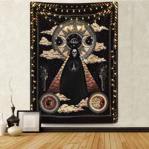 DH Tapestry Witchcraft Skull Tapestry Wall Hanging Bohemian Beach Mat Wall Decoration for Living Room Bedroom