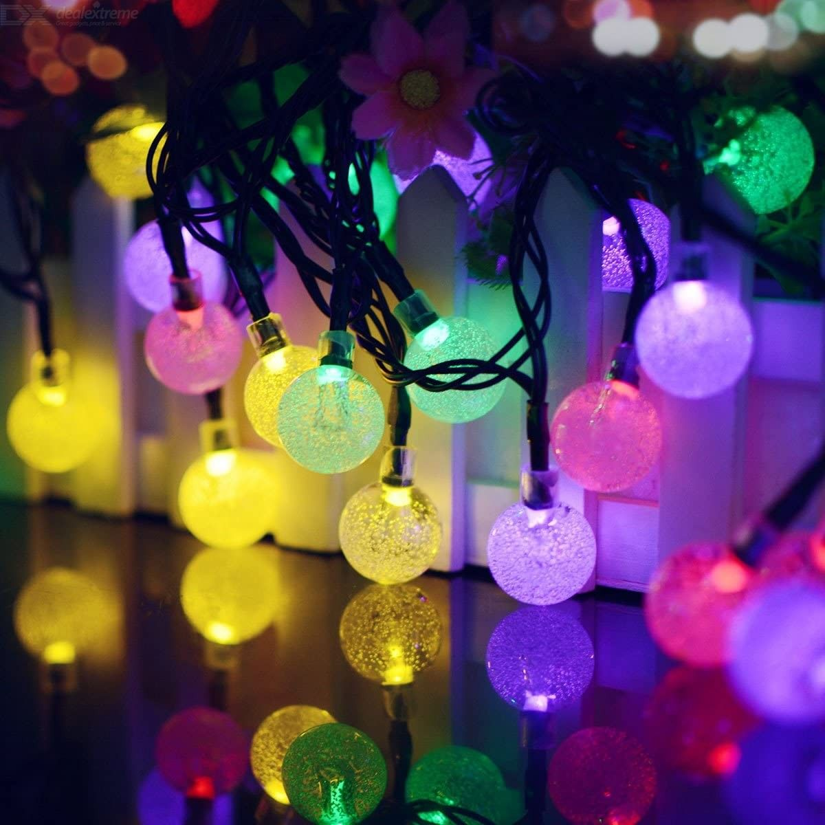 Garden Solar String Lights 20 LED Crystal Ball Decorative Lights 16ft Waterproof Outdoor Fairy Lights for Patio Yard Christmas